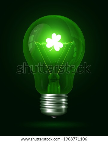 Clover lamp. Realistic green glowing light bulb. Inside the lamp is incandescent filament with glowing clover leaf. Incandescent Lamp. Creative Decoration Design Element. Ecology Concept. 3d vector Foto d'archivio ©
