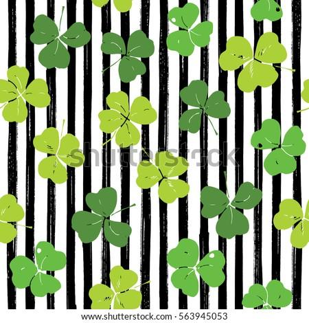 Clover leaf hand drawn doodle seamless pattern vector illustration. St Patrick's Day symbol, Irish lucky shamrock background.