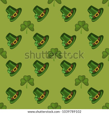 Clover leaf hand drawn doodle seamless set pattern vector illustration. St Patrick s Day symbol Irish lucky shamrock background. Green ireland holiday clover decoration plant celtic nature celebration