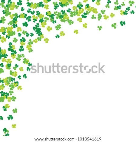 Clover leaf hand drawn sketch doodle illustration. St Patricks Day symbol, Irish lucky shamrock background.