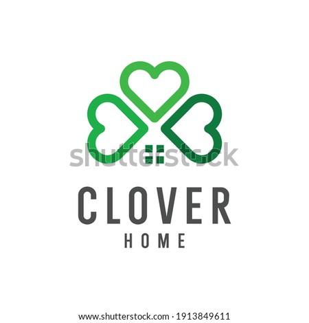 Clover leaf home logo vector icon illustration Vector Foto d'archivio ©