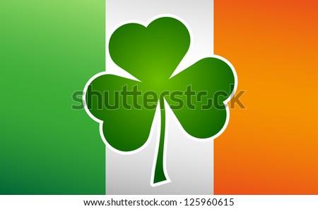 Clover leaf on flag element background for happy St. Patricks Day