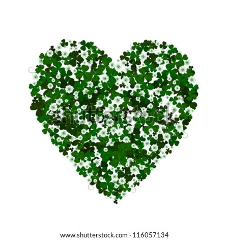 Clover leaves and flowers forming a heart, conceptual graphic for St. Patrick's Day holiday. Isolated and grouped objects over white background
