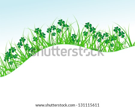 Clover leaves in green grass