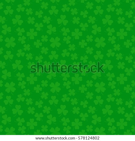 Clover leaves seamless vector pattern. St. Patrick's Day green background. Shamrock wallpaper