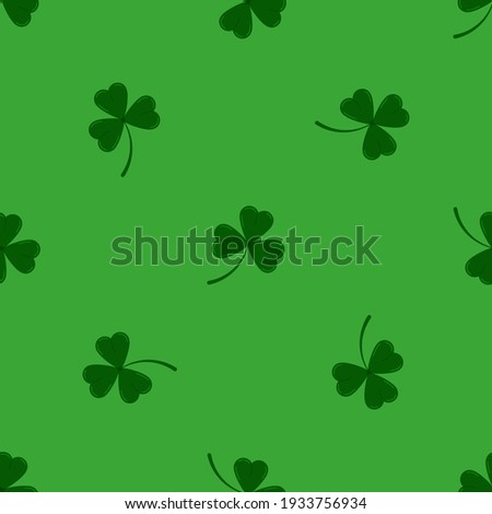 Clover leaves shamrock seamless pattern on green background. Green lucky tree leaf clover plant print. Flat design cartoon style vector floral endless texture for Irish St. Patrick's day. Foto stock ©