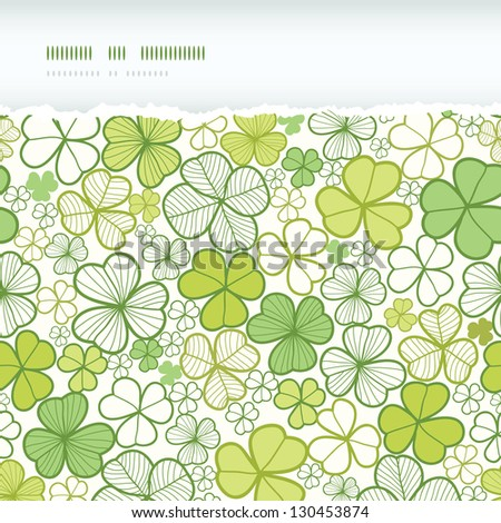 Clover line art horizontal torn seamless pattern background