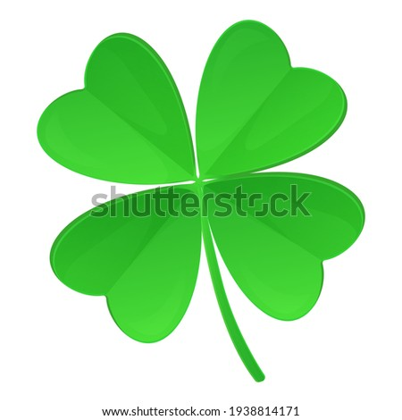 Clover with four leaves isolated on white background. St. Patrick s Day, lucky Concept. Stock vector illustration in realistic cartoon style Foto d'archivio ©