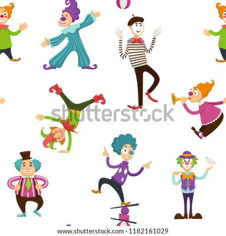 Clown and mime entertaining people seamless pattern vector