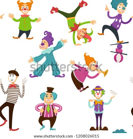 Clown and mime entertaining people seamless pattern vector.