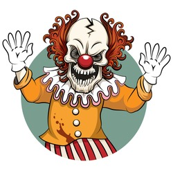 Clown angry. Face horror and crazy maniac, scare zombie. Vector illustration