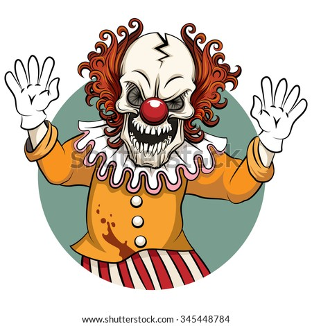 clown angry face horror and