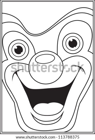 Clown coloring book page vector illustration