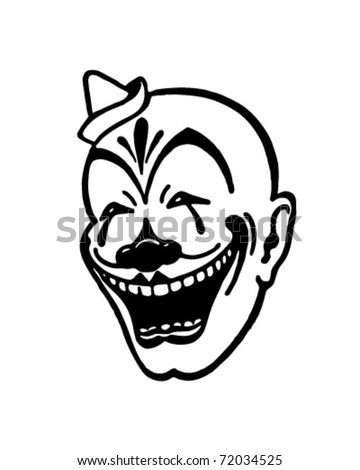 Clown Face Retro Ad Art Illustration