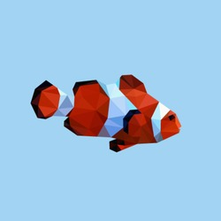 CLOWN FISH SEA POLYGONAL LOW POLY GEOMETRIC TRIANGLE