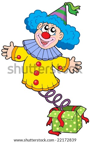 Clown from box - vector illustration. - stock vector