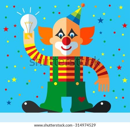 clown get the idea holding bulb