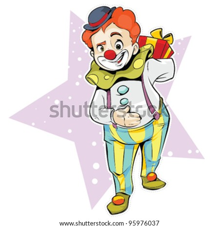 Clown holding a gift