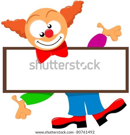 clown holding a signboard