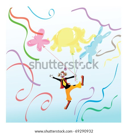 clown holding balloons in form of animals