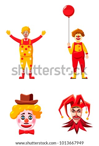 Clown icon set. Cartoon set of clown vector icons for web design isolated on white background