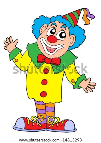 Clown in colorful outfit - vector illustration.