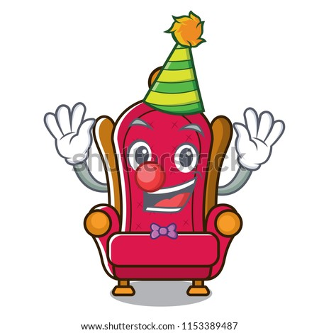 clown king throne mascot cartoon