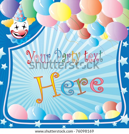 clown party banner with balloons and stars over striped background