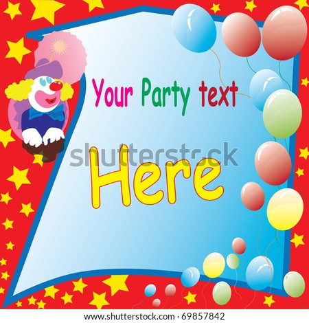 clown party flayer design with balloons and stars for party text