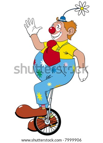 Clown riding in unicycle