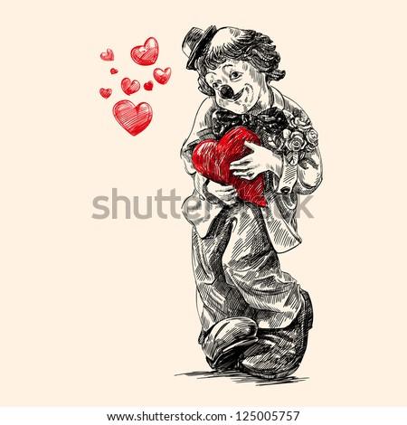 clown - vintage hand drawn vector illustration
