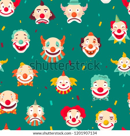 Clowns entertaining people emotions of man seamless pattern on green background.