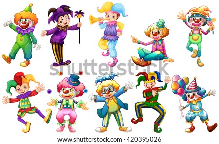 clowns in different costumes