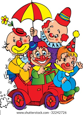 Clowns in the car on a white background. Vector art-illustration.