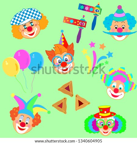 Clowns mask pattern, Happy Purim Festival Jewish Holiday Kids Party, modern design concept carnival background firework, noisemaker, masque, hamantaschen cookies star traditional symbols template card