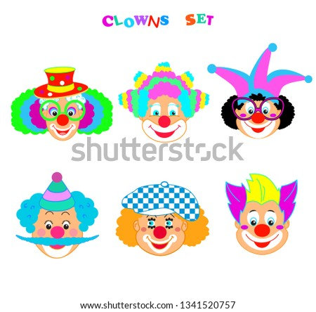 Clowns mask set, Happy Purim Festival Jewish Holiday Kids Party poster, modern design icon concept, carnival background, cute cartoon characters sign, funny masque clown symbols pattern template card