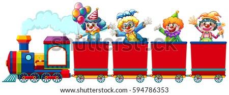 Clowns riding on train illustration