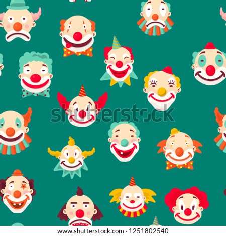 Clowns Sad and cheerful, entertaining people emotions of man seamless pattern on green background. mime with make up and strange hairstyle vector. Angry and showing tongue, kind male performer