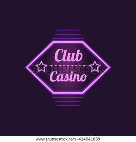 club casino purple neon sign