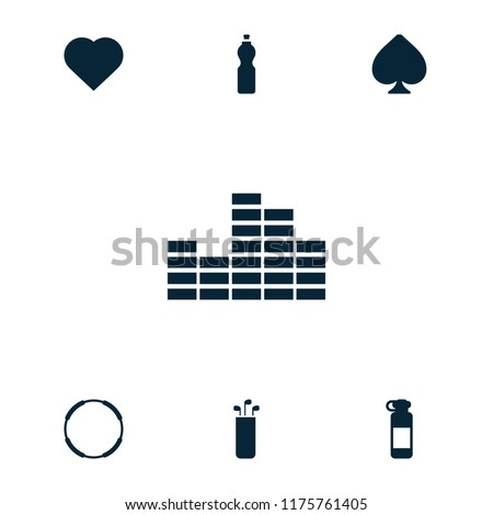 Club icon. collection of 7 club filled icons such as hearts, bottle for fitness, hoop, spades, golf putter, fitness bottle. editable club icons for web and mobile.