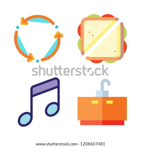 club icon set. vector set about sandwich, tap, music and spin icons set.