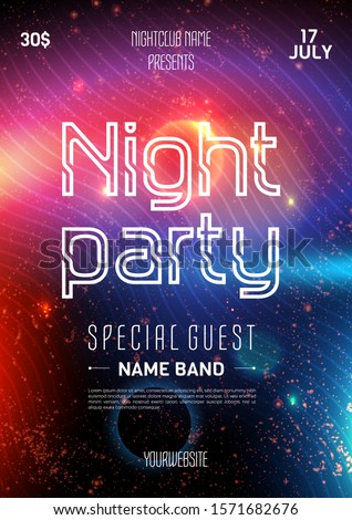 Club party flyer. Night starry sky. Blue space background. Party event decoration. Art design. Black party flyer. Music poster. Poster template vector design. Music show poster. Future style.
