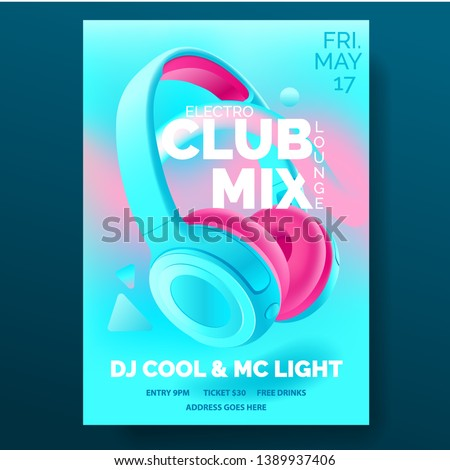 Club poster with headphones, dance party, flyer, invitation, banner template, dj music event, colorful blue and pink headphones, vector illustration.