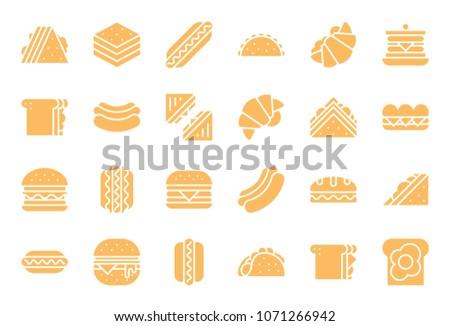 Club sandwich, hotdog, burger, fast food glyph icon