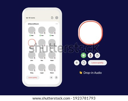 Clubhouse app interface. Voice meeting UI Mockup. Mobile application for Conference. Graphical User Interface. Template for Presentation. Vector illustration