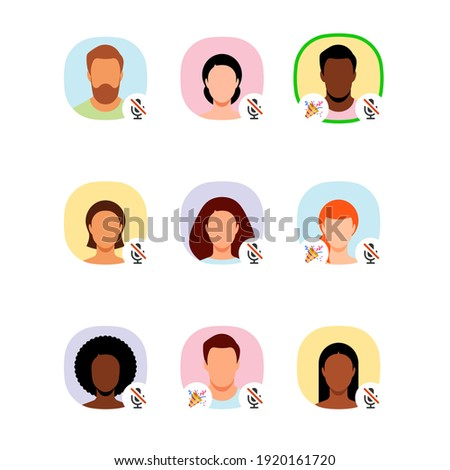 Clubhouse audio chat. Social network avatars - avatars of various men and women. The participants of the chat. Chatting with friends. Vector illustration.