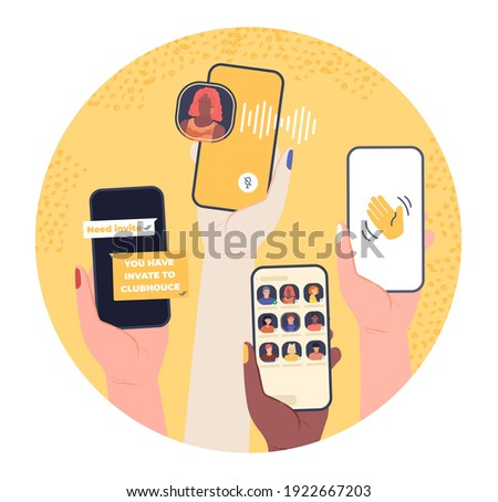 Clubhouse chat screen. Smartphone voice conversation in audio-only social network. Hands hold gadget with invite, talk room, podcast, record waves. App interface template isolated vector concept.