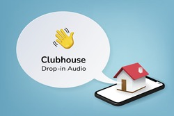 Clubhouse drop in audio application concept, Hand icon for invite, Clubhouse app on smartphone and speech bubble on blue background, Vector illustration