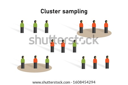 Cluster sampling method in statistics. Research on sample collecting data in scientific survey techniques. Сток-фото ©
