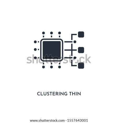 clustering thin icon. simple element illustration. isolated trendy filled clustering thin icon on white background. can be used for web, mobile, ui.